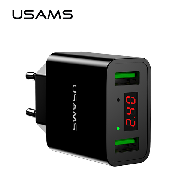USAMS LED Display Dual USB Phone Charger EU/US Plug The Max 2.2A Smart Fast Charging Mobile Wall Charger for iPhone iPad Samsung