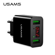 USAMS LED Display Dual USB Phone Charger EU/US Plug The Max 2.2A Smart Fast Char
