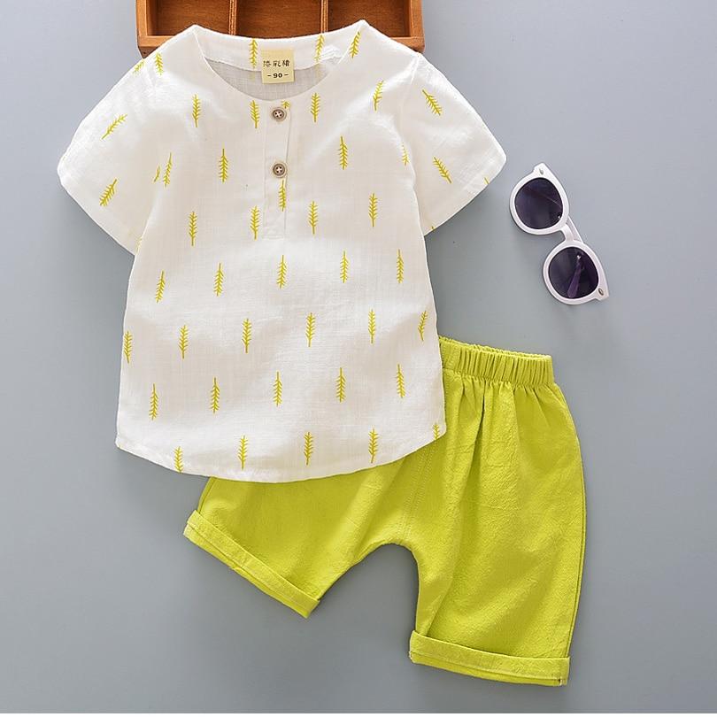 e0f09b686d7 Kids Clothes Summer Cotton Linen Boys Sets T Shirt + Shorts Toddler ...