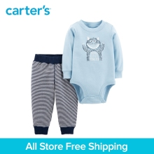 2pcs cotton Long sleeves monster slogan bodysuit striped pants set Carter's baby boy spring autumn clothing 121I914