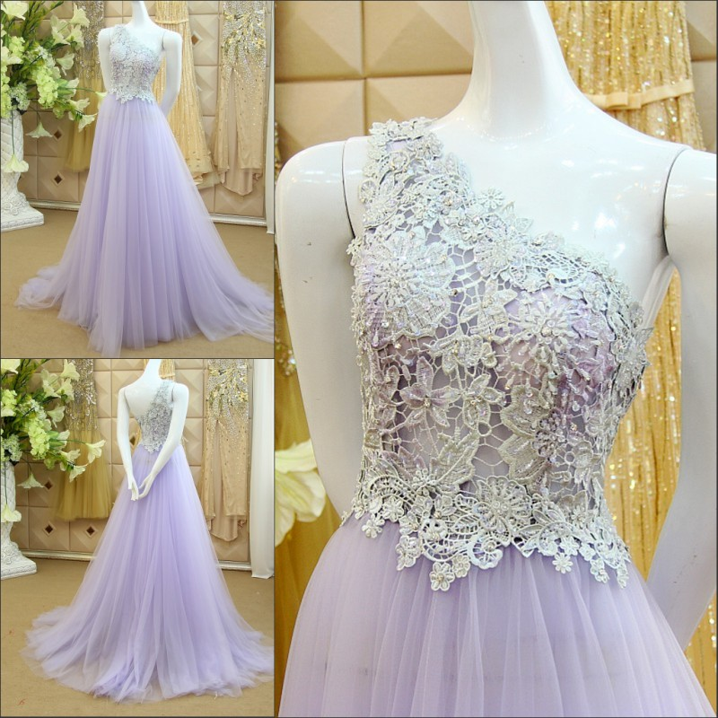 robe de soiree lavender long prom 2018 new sexy one shoulder custom beading vestido de festa lace mother of the bride dresses