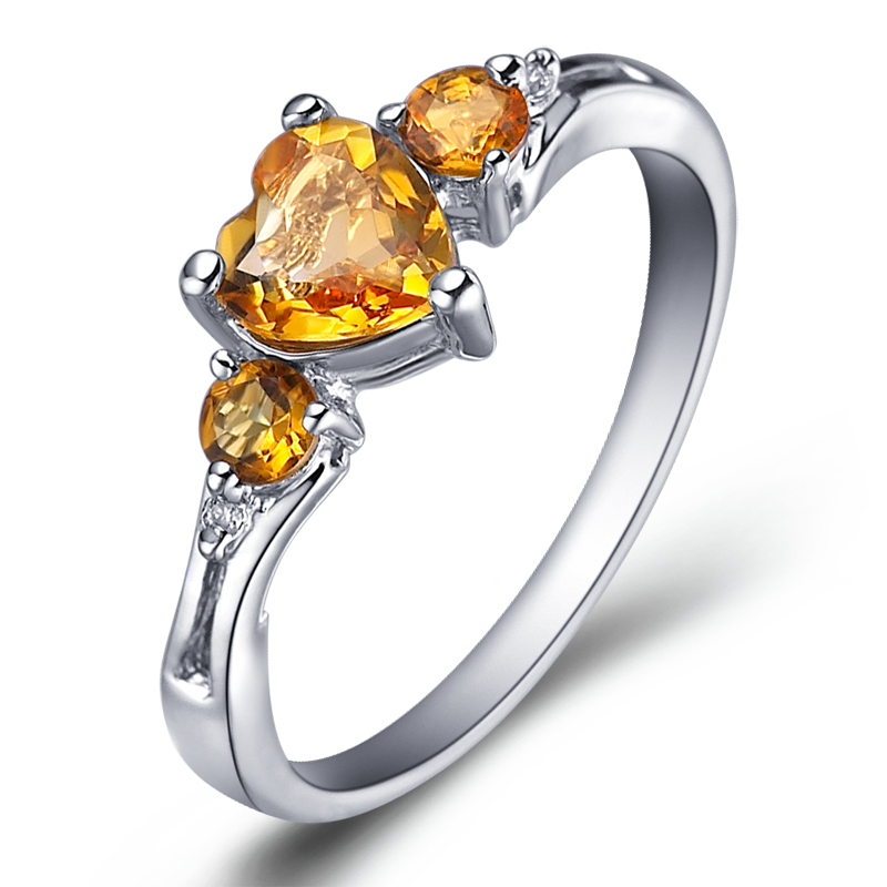 Natural Citrine Ring 925 Sterling silver Heart Yellow Crystal Woman Fashion Fine Elegant Jewel Princess Birthstone Gift sr0214c все цены