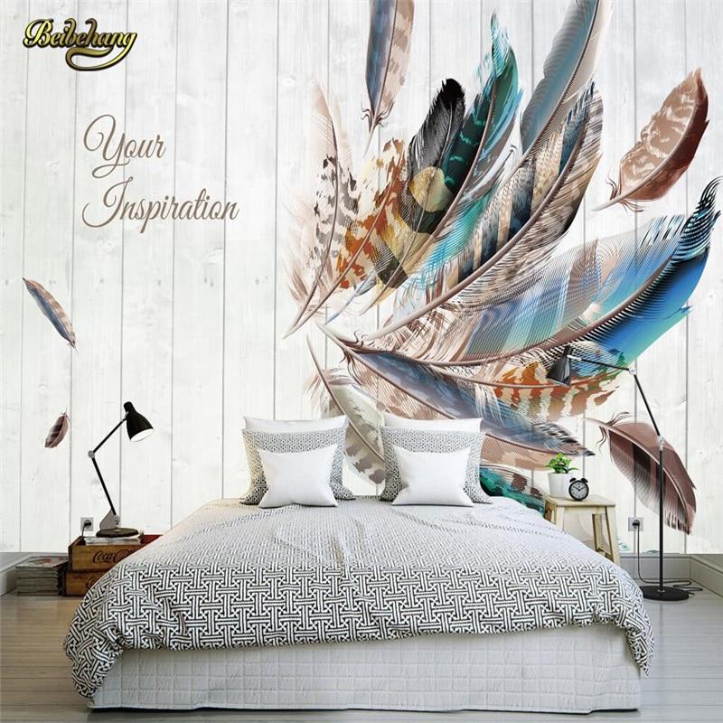 Tienda Online Beibehang color pluma tablero mural para paredes 3 D ...