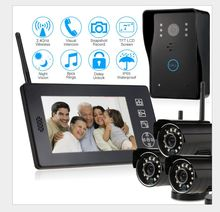 2.4G wireless  doorbell  intercom system  home  security  wifi  doorbell  cameras kit with 7inch LCD monitor  control panel