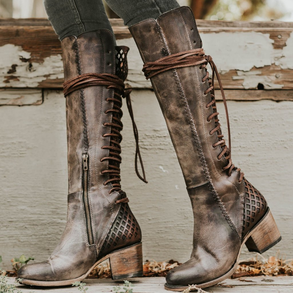 knee high shoes woman chunky high heels gladiator boutique lace up booties sapato feminino zapatos de mujer boots women