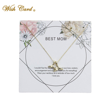 Wish Card Whale Tail Best Mom Gold Chian Necklace Copper Pendant Jewelry Daughter Mother Day Gift Memory Friend Necklace EY6008