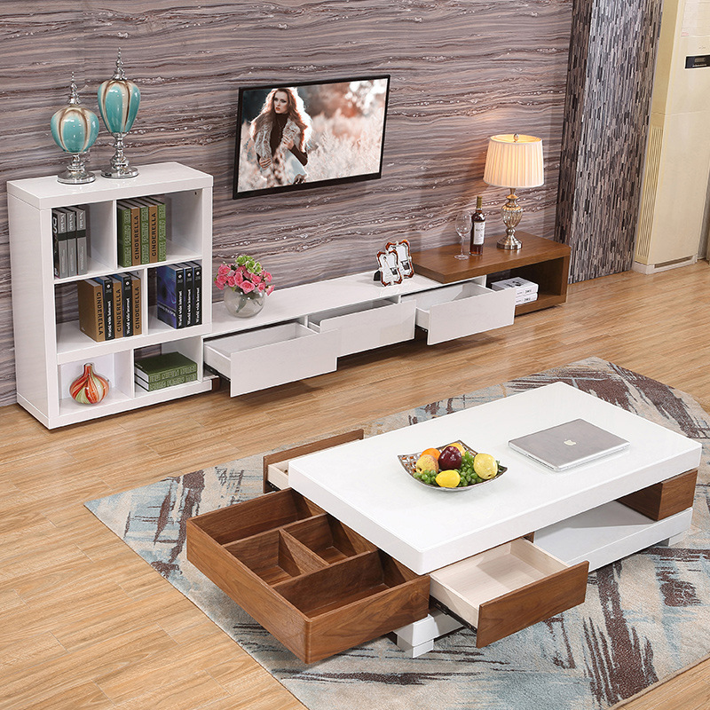 living room home furniture coffee table minimalist modern style wooden mesas rectangle t ...