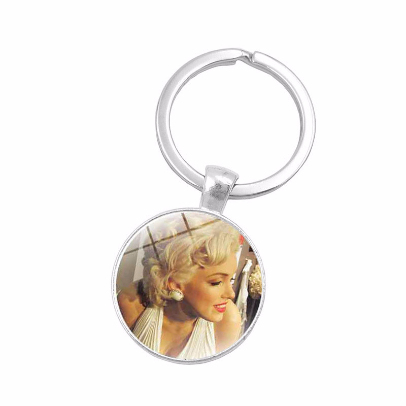 Glass Cabochon Jewelry with Silver Plated Marilyn Monroe Shaped Car Accessories Keychain Ring for Women Men spoon fork shaped keychain with smile expression silver pair