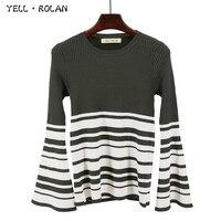 YELL ROLAN 2017 Autumn Winter Fashion Stripe Jumper Sweater Bell Sleeve Round Neck Knitting Pullover Office