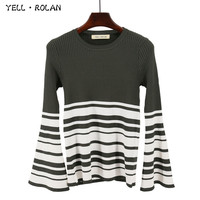 YELL ROLAN 2017 Autumn Winter Fashion Stripe Jumper Sweater Bell Sleeve Round Neck Knitting Pullover Office