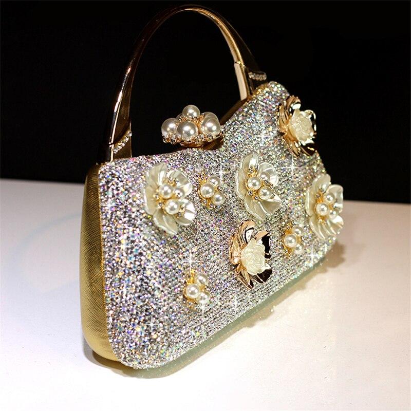 Totes กระเป๋าถือคริสตัลคลัทช์ผู้หญิงเจ้าสาวงานแต่งงานกระเป๋าสะพายดอกไม้ของแท้หนัง Rhinestone กระเป๋าสตางค์ Party party-ใน กระเป๋าหูหิ้วด้านบน จาก สัมภาระและกระเป๋า บน   2