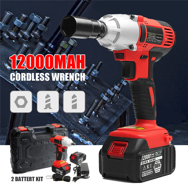 цены AC 100-240V 12000mah Electric Wrench 400Nm Lithium-Ion Cordless Impact Wrench Battery Brushless 2 Batteries 1 Charger Power Tool