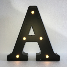 Black A-Z Letters Light 15cm 6″ Letter LED Marquee Sign Alphabet Light Lamp Indoor Wall Decoration Lamp Warm White Night Light
