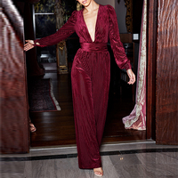 Ocstrade Hot New Trends 2019 Wine Lurex Deep Plunge Velvet Jumpsuit Overall Long Sleeve Party Sexy Bodycon Jumpsuits for Women