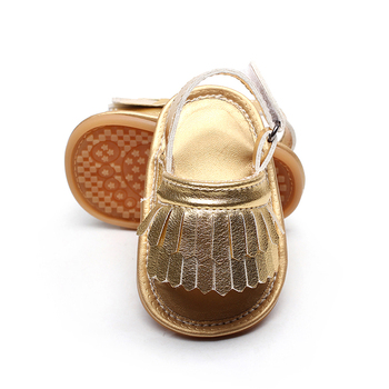 Hot Sale PU Leather Tassel Baby Sandals Baby Summer Tassel Girls Cool Flat With Scarpe Hook And Loop Baby Sandal Rubber Bottom