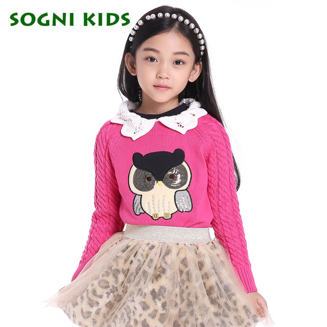 Red children Sweaters for girls Knitted Sweater owl Pattern design Turn-down Collar Outerwear top kids Girl Pullovers Age 4-13Y