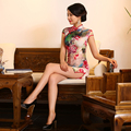 Red Peony Charming Retro Satin Silk Mini Cheongsam Chinese Traditional Evening Dress Qipao QP18
