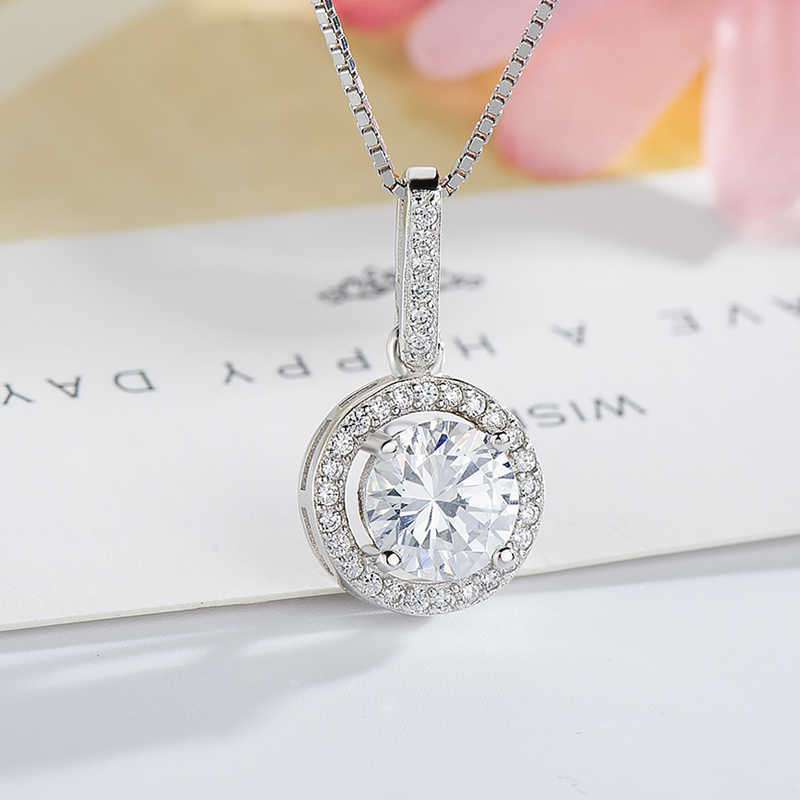 Sterling Silver Necklace Wholesale Pendant Zircon Diamond Engagement Pendant 925 Clavicle Necklace 18Inches with Jewelry Box