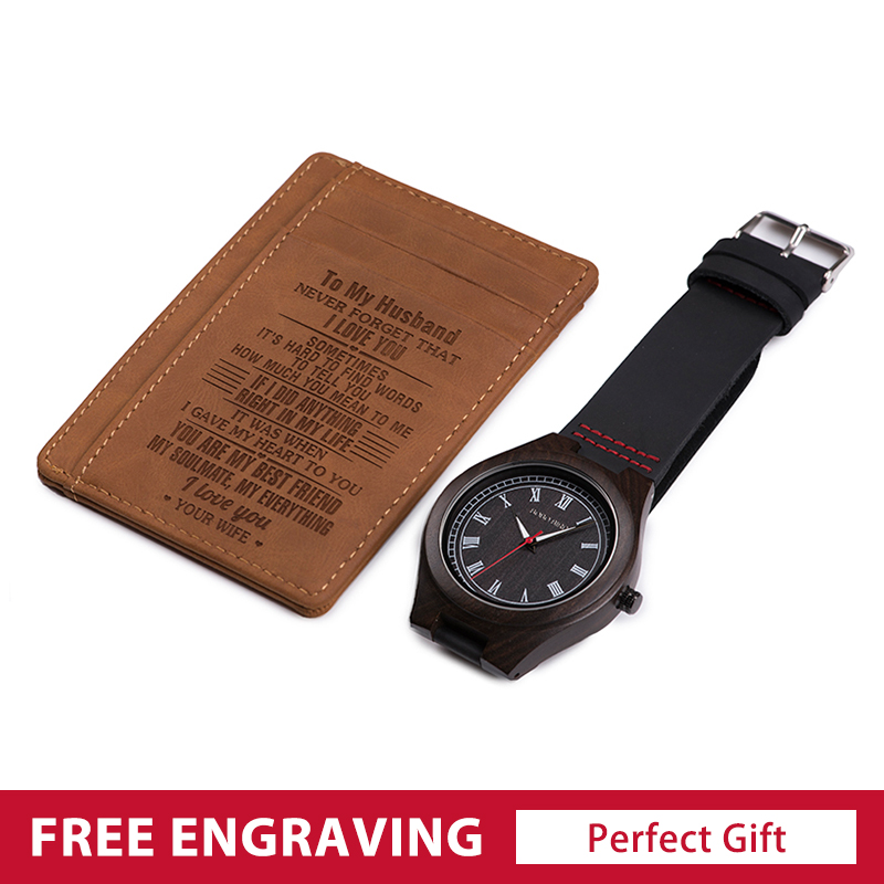 Personalized ID Card Holder Wallet and Wooden Watches for Men Engraved Gift Set Mini Money Purse