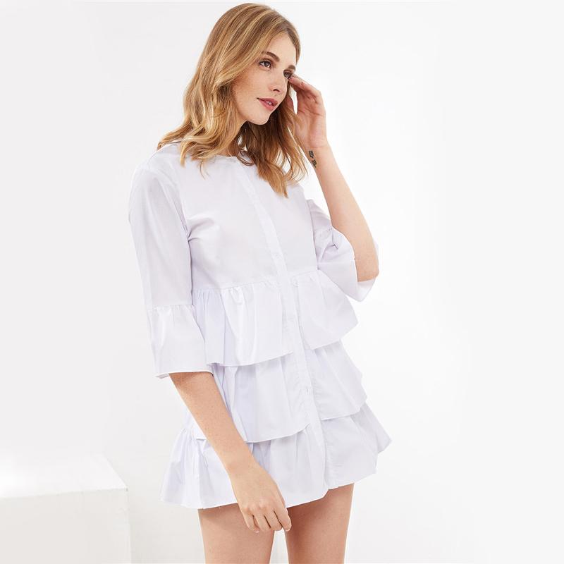 HTB12hiYRVXXXXbrXXXXq6xXFXXXM - Frill Trim Shirt White Button Up Blouse JKP070