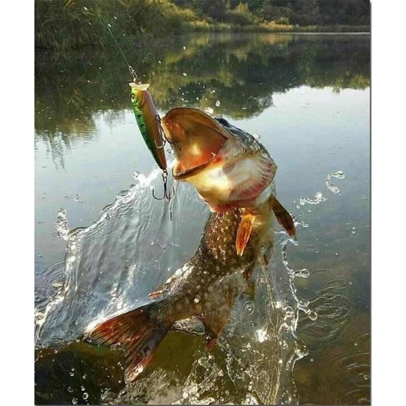 5d DIYรอบ/ตารางเพชรเย็บปักถักร้อยตกปลาไอคอนเพชรจิตรกรรมปักครอสติโมเสคrhinestonesตกแต่งบ้านปลาv2382