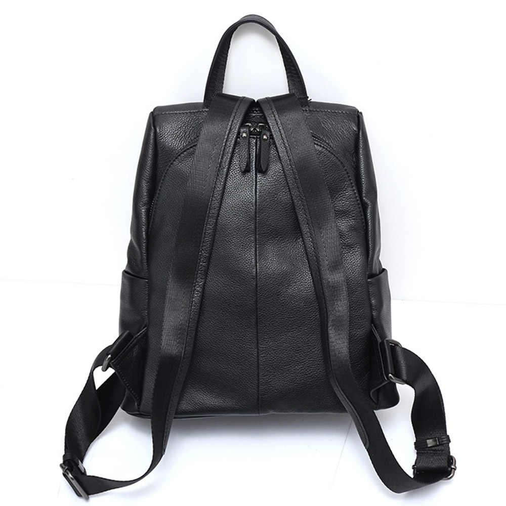 حقيبة ظهر نسائية ضد السرقة من زنسي موضة 100% مصنوعة من الجلد الطبيعي وحقيبة سفر سوداء حقيبة مدرسية كبيرة للبنات حقيبة ظهر نسائية