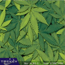 0.5M*10M Green Cannabis Leaves Pattern Water Transfer Printing Film HL82-S, 10M Hydrographic film Pva Water Soluble Film
