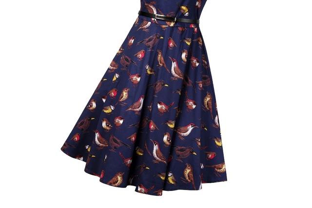2017 New Arrival Vintage Birds Print A-Line Dress 50s 60s Hepburn Sashes O-Neck Short Sleeves Swing Dresses Plus Size Women