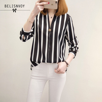 2017 Spring Summer XL 5XL Plus Size Blouse Women V Neck Long Sleeve Shirts Striped Korean