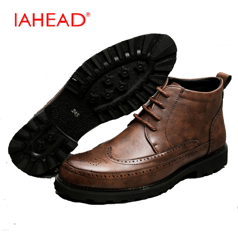 IAHEAD Men Casual Shoes Men Ankle Boots Chelsea Boots Winter Autumn Boots Work Boots Plus Size 38-47 botas masculinas MH559 iahead men boots men chelsea boots winter lace up flats casual shoes men leather ankle boots chaussure homme de marque mh598