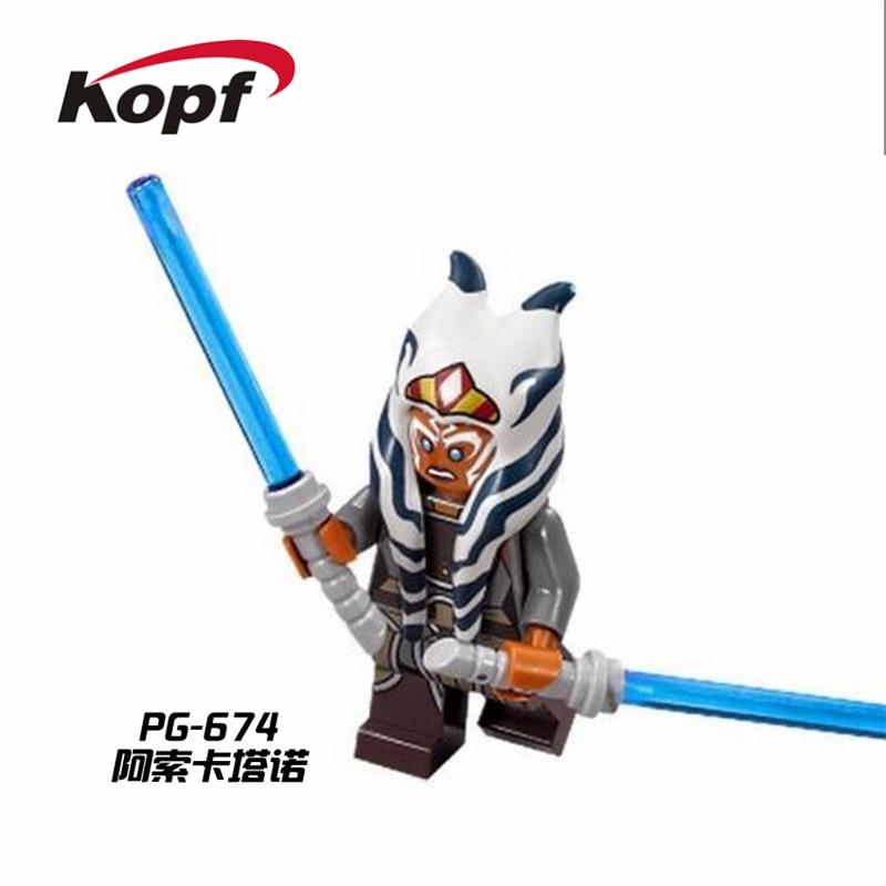 Single Sale Super Heroes Space Ahsoka Tano Qui-Gon Jinn Luke Skywalker Bricks Model Building Blocks Kids Gift Toys PG674