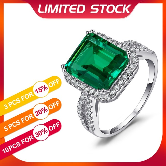 JewelryPalace 5.5ct Emerald Ring Solid 925 Sterling Silver Romantic Classic Ring