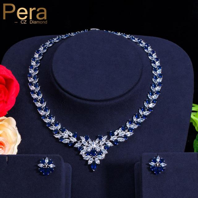Pera CZ Elegant Royal Stone Bridal Wedding Accessories Big Marquise Shape Blue Cubic Zirconia Jewelry Sets For Brides J037
