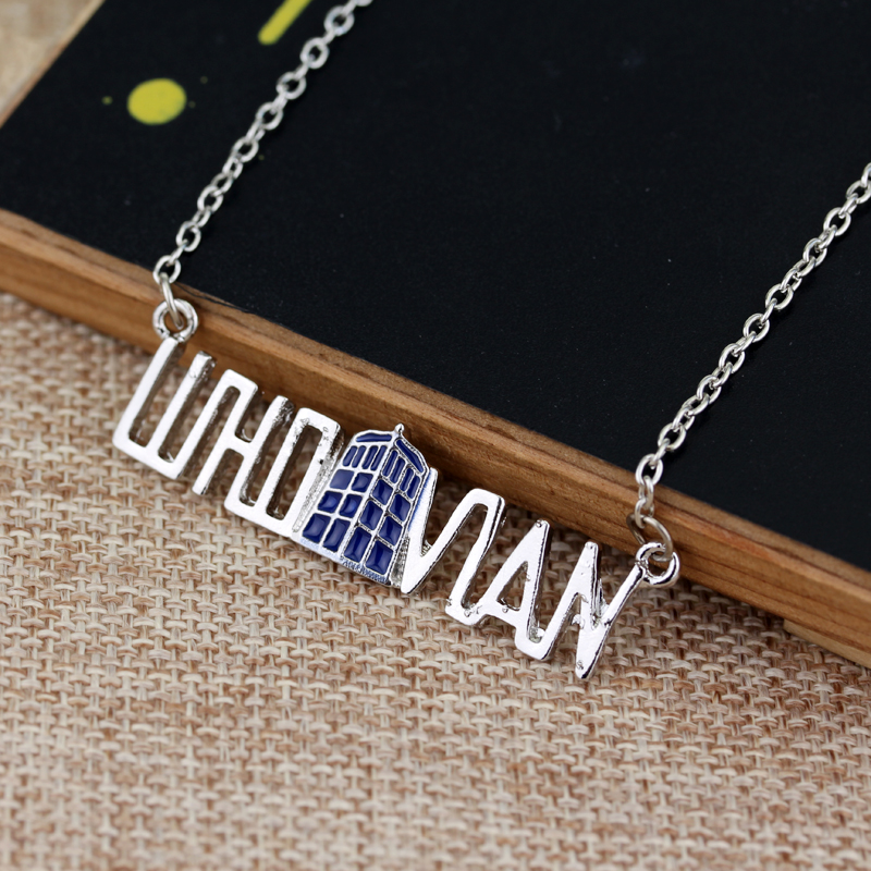 Wholesale 20pc ancient silver Spinning TARDIS necklace Doctor Who Letter necklace