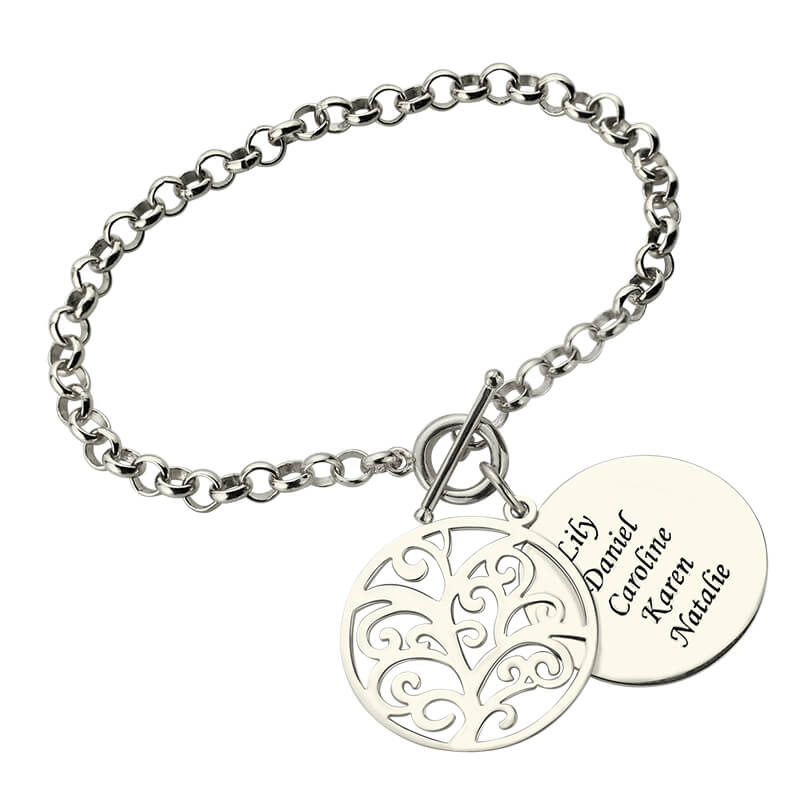Engraved Family Tree Bracelet in Silver Disc Name Bracelet Tree of Life Jewelry Mother's Day Gift faux turquoise engraved hope life tree leaf necklace