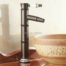 Recém luxo Single Handle estilo clássico europeu antigo Torneira da Bacia Torneira Bacia de banho de bambu quente e fria torneiras RB1039