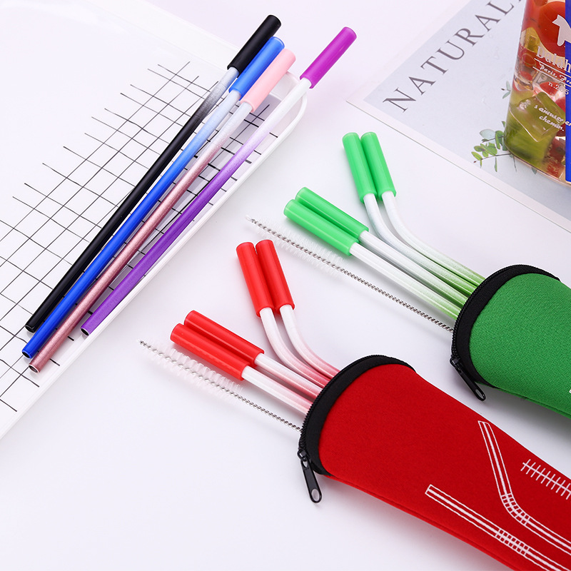 6Color Metal Straws Reusable Silicone Stainless Steel Drinking Straight Bend Cleaning Brush Bar Accessories