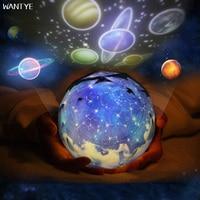 WANTYE 3D Stars Starry Sky LED Night Light Rotate Projector Earth USB Kids Children Bedside Lamp
