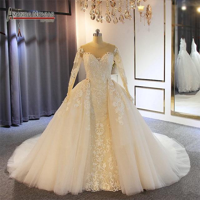 Nuovo modello sirena vestito con il treno staccabile abito da sposa