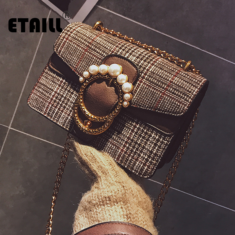 ETAILL Beading Golden Chain Bag Female 2018 Autumn and Winter New Korean Fashion Pearl Plaid Small Bag Woll Flap Shoulder Bag 2017 autumn and winter small bag new