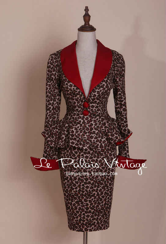 2a3eaaabd662 ... Le Palais Vintage elegant retro Sexy Leopard contrast color waist coat  pencil skirt suits/sets ...