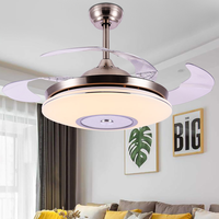 Invisible Ceiling Fan Light Home Dining Room Simple Living Room Ceiling Fan Light Golden Modern with LED Fan Light