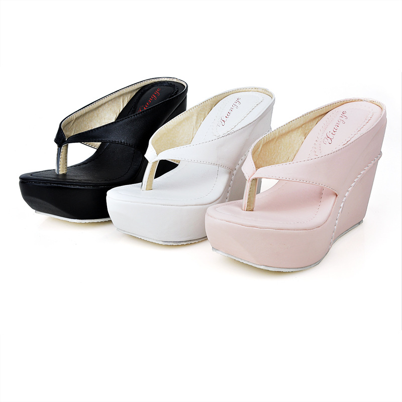 b1bcca45550 2016 New Style Womens 10cm High Heels Flip Flops Platform Wedges Slippers  Girl s Fashion Summer Beach Sandal Shoes