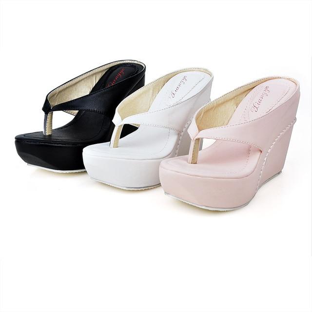 2016 New Style Womens 10cm High Heels Flip Flops Platform Wedges Slippers  Girl s Fashion Summer Beach Sandal Shoes 79674f5faf41