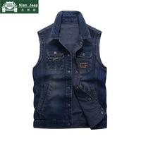 Brand Denim Sleeveless Jacket Men Waistcoat Mens Cowboy Vest Military Outwear Multi Pocket Coats Size M 4XL chalecos para hombre