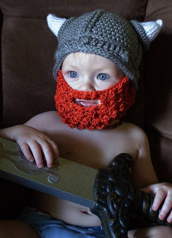Kleinkind Crochet Viking Hut Mit bart-Häkeln Kinder Helm-kleinkind ...