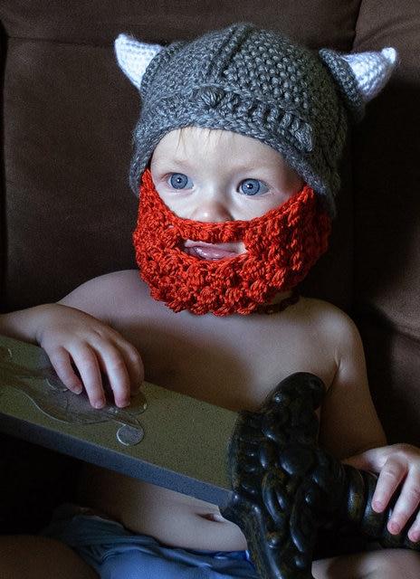 Niño del ganchillo del sombrero de Viking con barba crochet niños ...