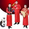 Dos homens do Estilo Chinês Antigo Traje Do Noivo Túnica Vestido Longo Robe Vestido Vermelho Vestido de Casamento Tradicional Chinês Tang Terno Dinastia Qing