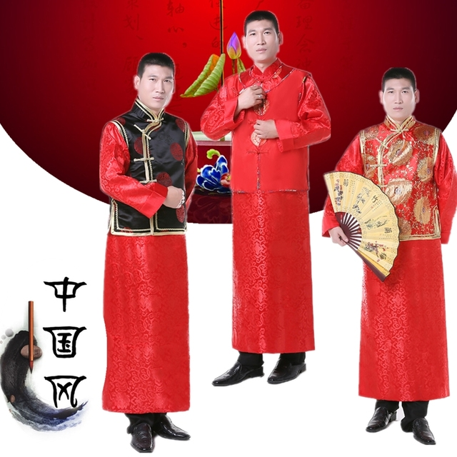 b07c91d05 Men Chinese Style Ancient Costume Groom Tunic Red Dress Long Robe Gown Traditional  Chinese Wedding Dress Tang Suit Qing Dynasty