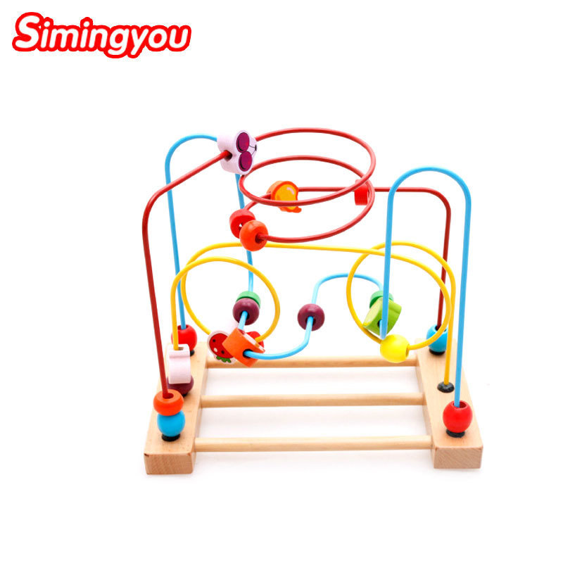 Simingyou Colorful Wooden Fruits Vegetables Around Beads Baby Toys Educational Intelligence Math Toys A50-7013 Drop Shipping